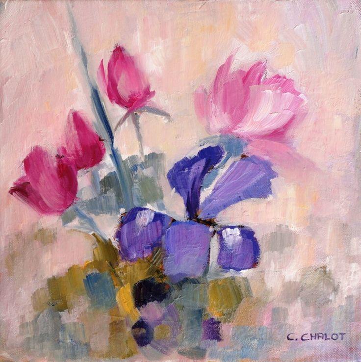 roses et iris huile sur toile 30*30 cm