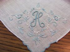 """Vintage Madeira Embroidered Blue Monogram H Linen Hankie 12"""" Unused"""