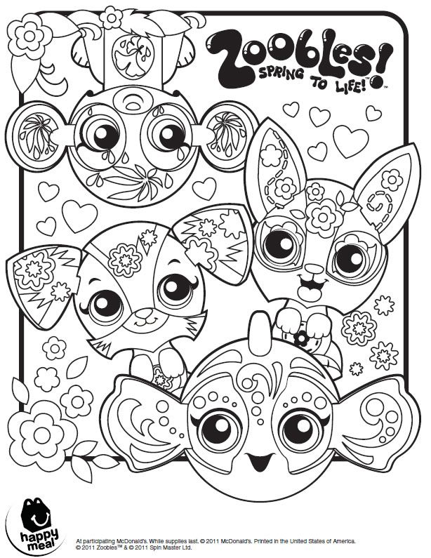 Zoobles coloring page printables for kids free word for Zoobles coloring pages