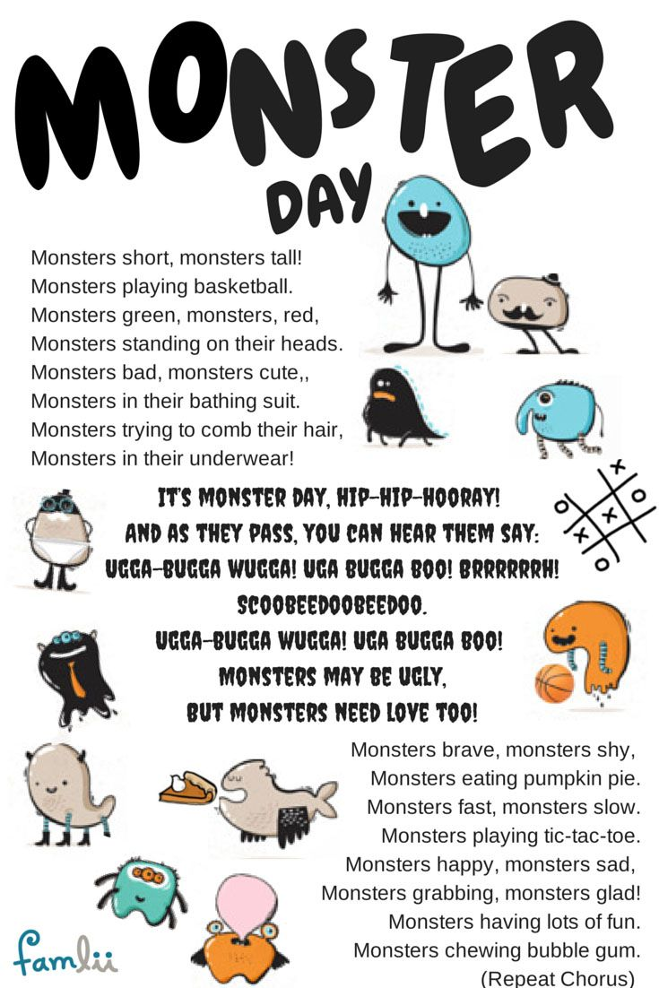 It's Monster Day...Hip, Hip, Hooray! Halloween Song For Preschoolers www.famlii.com/its-monster-day-song-linda-arnold-halloween-song-for-preschoolers/