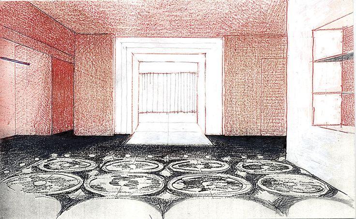 Interiror sketch by Claudio Nardi Architects for Dolce e Gabbana Boutique in Milano. #DG #dolce #gabbana #milano #boutique #fashion #design #viadellaspiga #contemporary #tradition #aristocratic #interior #sketch #design #ideas  #floor #decoration #red