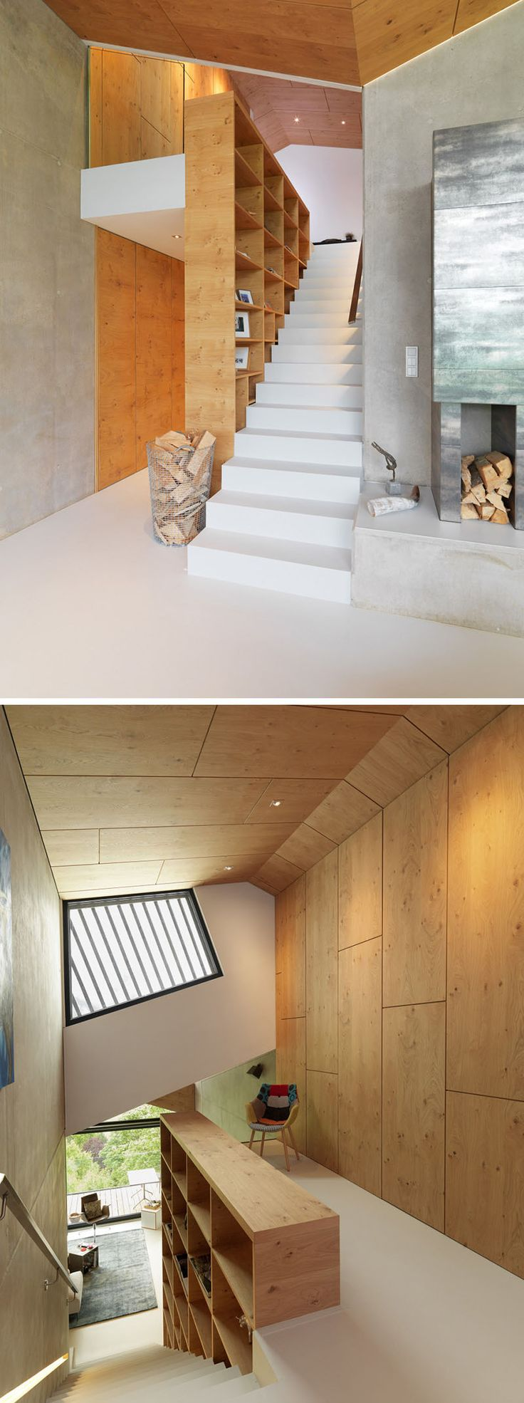 12 Inspiring Examples Of Staircases With Bookshelves   This staircase/bookshelf combo leads up to a spot perfect for reading.