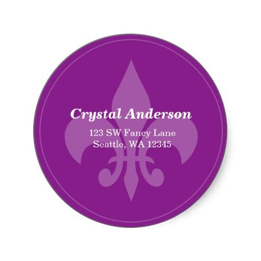 Purple fleur de lis custom address label custom address labelslabel stickersround