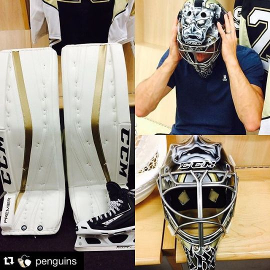 New year, new gear. Marc-Andre Fleury of the Pittsburgh Penguins tries on his new mask and CCM Premier pads for the 2015-16 season!