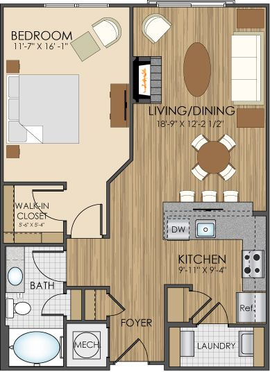 Floor plans of hidden creek apartments in gaithersburg md for 1br apartment design ideas
