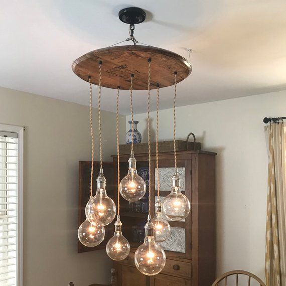 Whiskey Barrel Top Chandelier Round Wood Small Chandelier Small