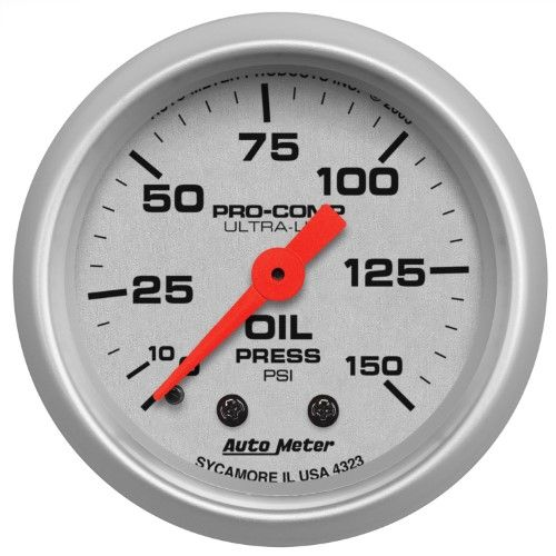 Autometer 4323 Ultra Lite Mechanical Oil Pressure Gauge 2 1 16 In Silver Dial Face Fluorescent Red Pointer White Fuel Pressure Gauge Gauges Pressure Gauge