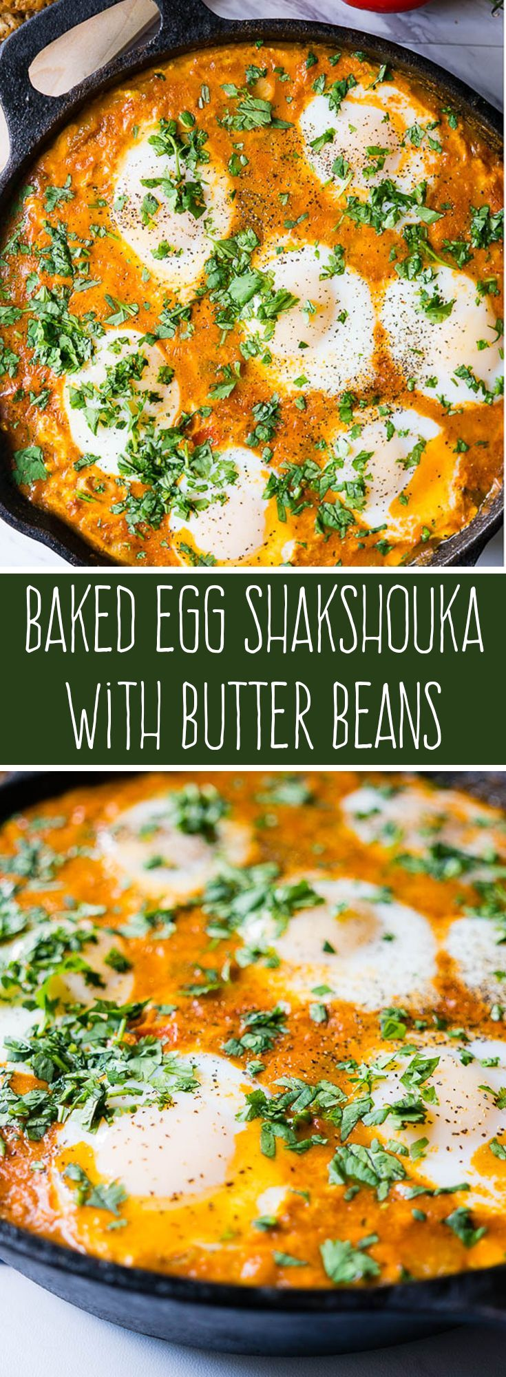 Baked Egg Shakshouka with Butter Beans. A bright and tangy Israeli tomato dish that is versatile enough to be enjoyed for brunch, lunch, or dinner!