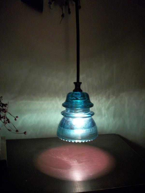 Stunning Glass Insulator Pendant Ceiling Light-Blue Hemingray-42-Black cord/base