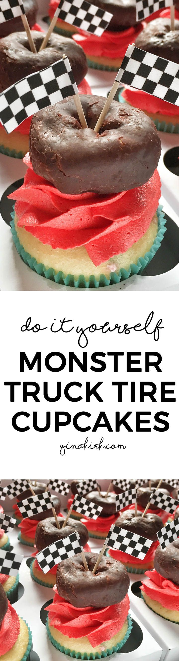 Printable flags - DIY monster truck tire cupcakes, for an easy DIY birthday party for kids! momlifemusthaves.com