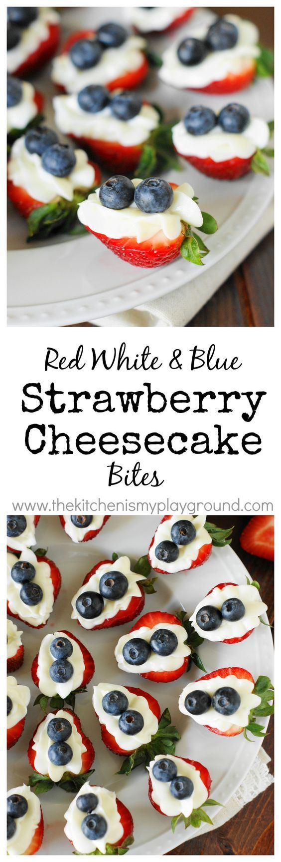 Red, White & Blue Strawberry Cheesecake Bites ~ an easy little 4th of July {or ANY time} treat. www.thekitchenismyplayground.com
