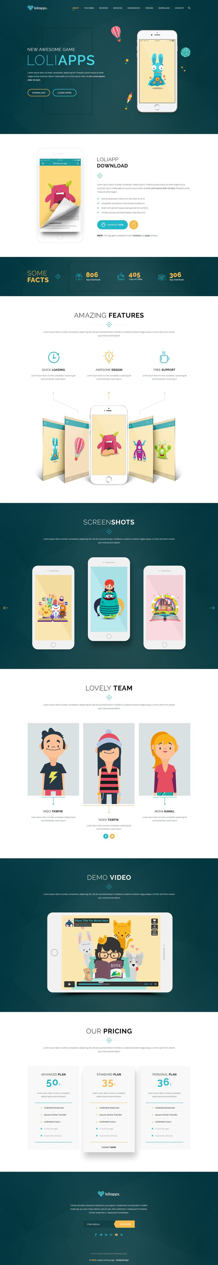 LoliApps - Landing Page PSD Template comes with 2 stunning homepage layouts…