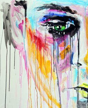 Look at her face melting off in lines... Saatchi Online Artist Yuliya Vladkovska;Painting scheiss #makeup #art