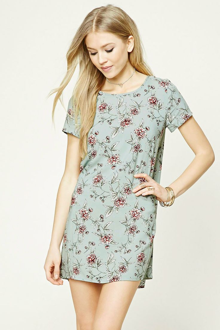Style Deals - A woven dress featuring an allover floral print, a shift silhouette, round neckline, short sleeves, an exposed back zipper, and a short length.
