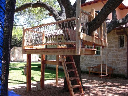 Treehouse idea - simple and re-use swing and or slide?