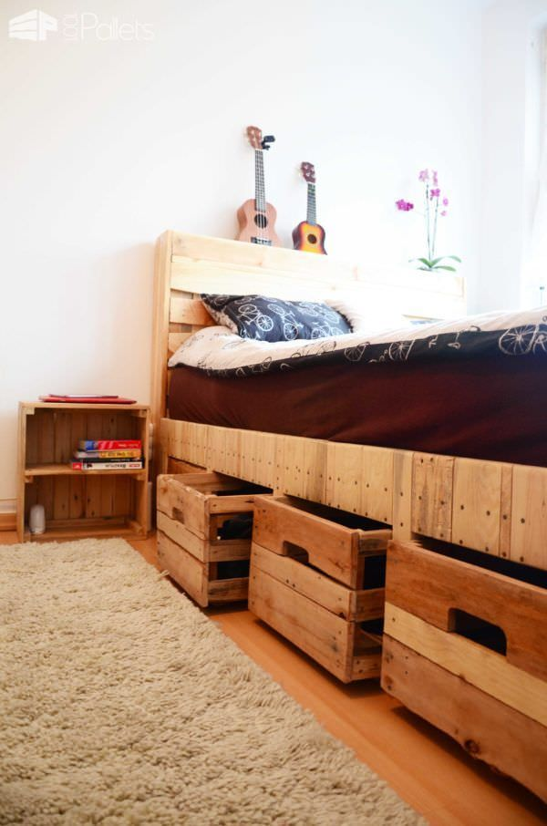 pallet wood king size bed with drawers storage diy pallet bedroom pallet bed frames pallet. Black Bedroom Furniture Sets. Home Design Ideas