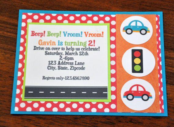 Car Invite Car Invitation Beep Beep Vroom Vroom  A2 by scrappinash, $8.40