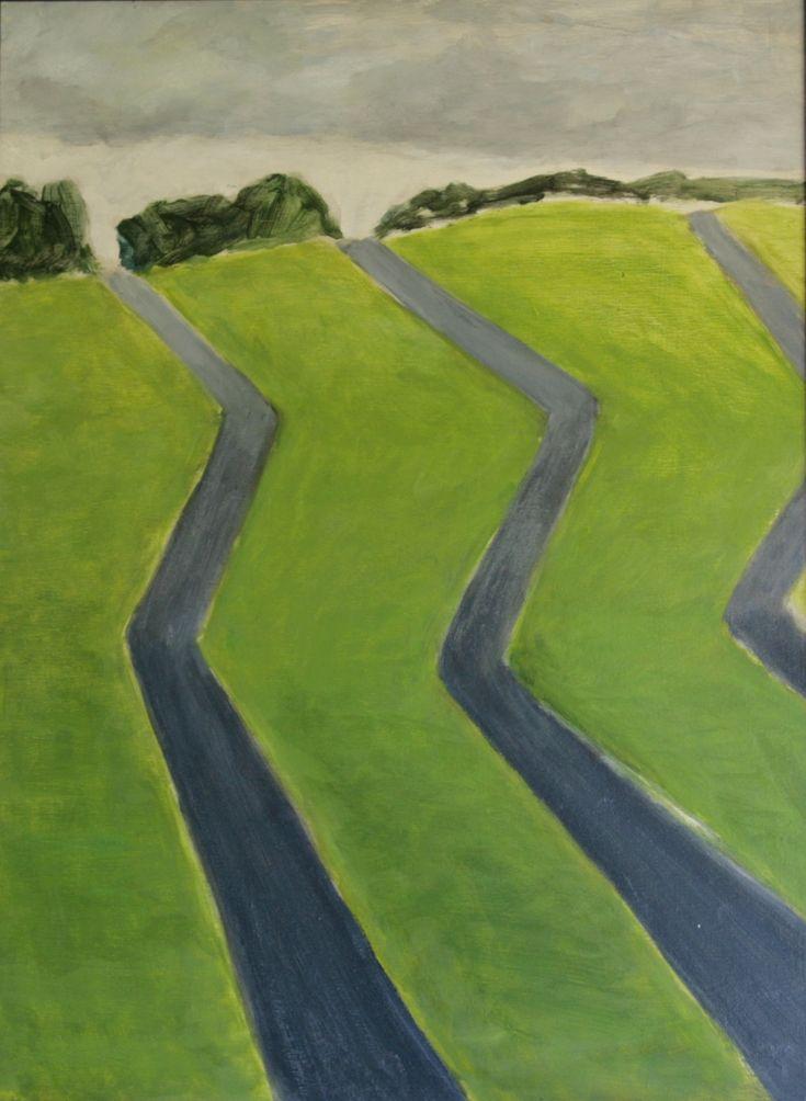 oil on wood painting | 42x56 cm | dutch landscape, ditches, slootjes