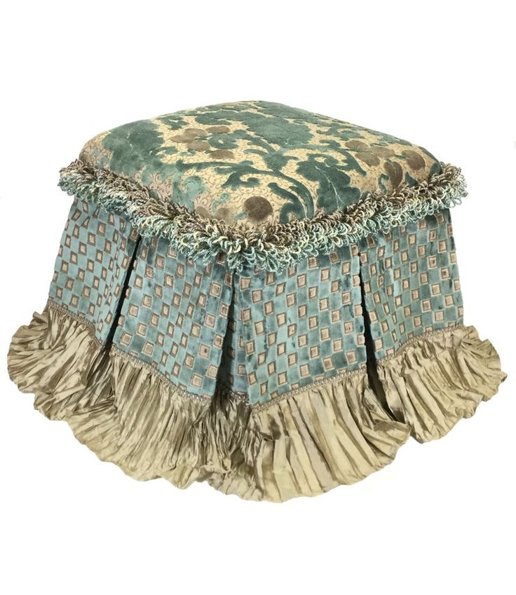 The Paradise Foot Stool combines a Soft Blue and Taupe color combination that is subtle and luxurious. The box pleated skirt is edged in a Crushed Silk that blends perfectly...