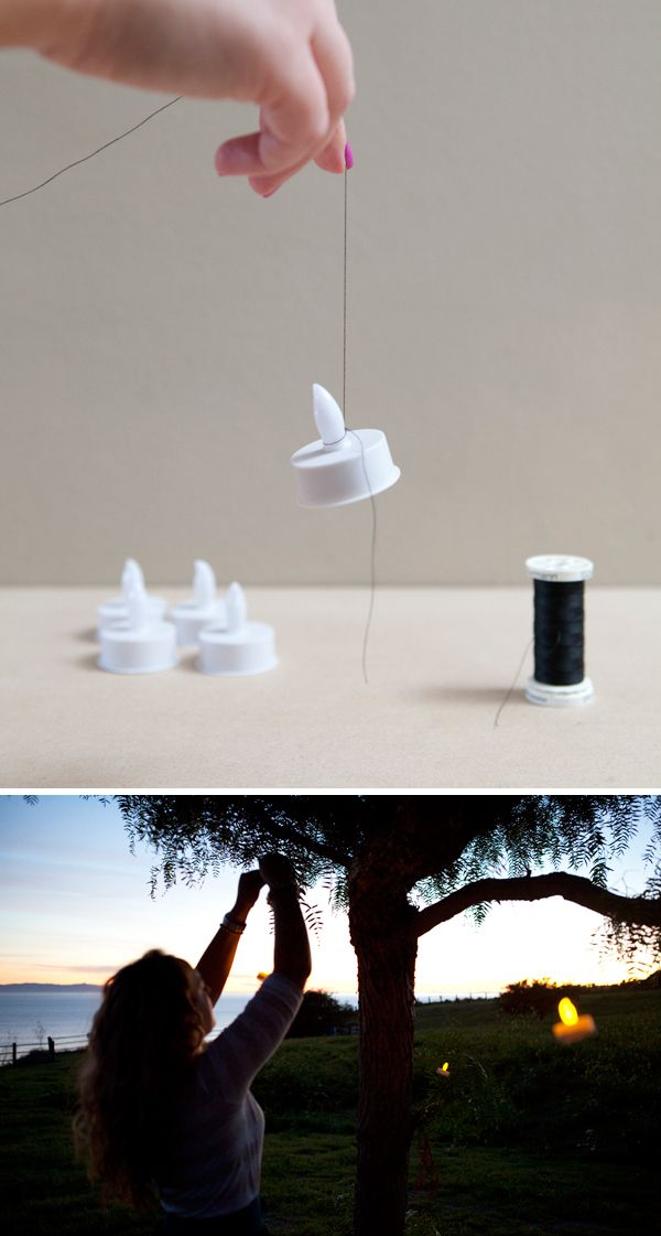 Easy {and safe} romantic outdoor lighting! Hanging battery operated tea lights!