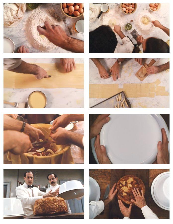 """Big night (1996) Stanley Tucci, Scott Campbell. Per il cuoco Primo Pilaggi, un purista senza compromessi, """"chi mangia il buon cibo è vicino a Dio"""". Il momento centrale del film è la preparazione del famoso timballo di pasta. La telecamera riprende dall'alto il tavolo da cucina, in dettaglio vediamo le mani dei due fratelli mentre: dispongono i vari ingredienti, impastano, stendono con il mattarello, imburrano e foderano lo stampo per il timballo riempiendolo con il ragù, le uova e molto…"""