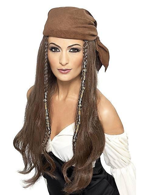 Women's Pirate Brown Wig and Bandana