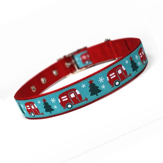 "Christmas trailer / caravan 1"" dog collar"