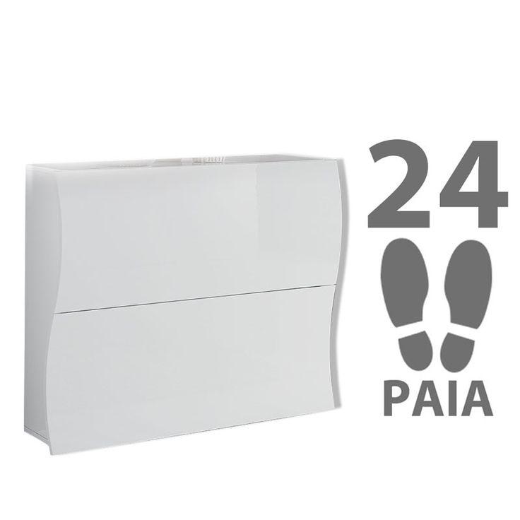 Scarpiera 2 ante 110x27xh82 cm in legno Laccato Bianco ONDA 24 paia in Kit di Montaggio | Tecnos Arredamento | Stilcasa.Net: scarpiere e portascarpe