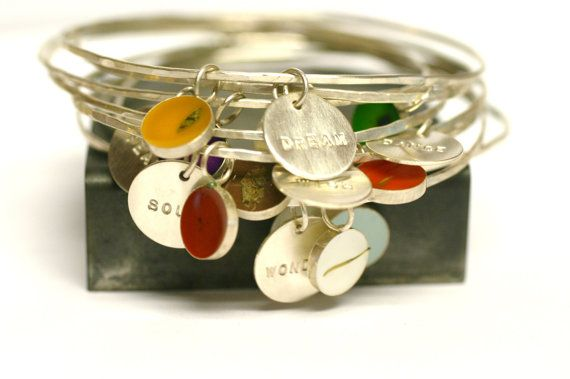 Custom Bangle Charm Bracelet, personalized, Bridesmaid Gift, memory bracelet, Custom Date, Initial, Name, Mother's Day