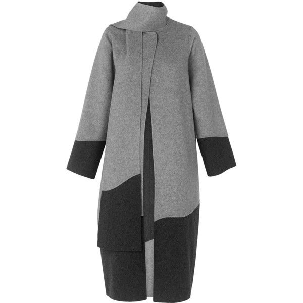 Whistles Manning Colour Block Coat ($455) ❤ liked on Polyvore featuring outerwear, coats, color block coat, calf length coat, neck ties, oversized coat and cocoon coat