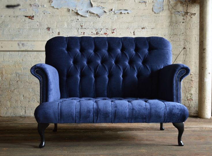 Retro 2 seater British handmade Cockburn deep buttoned Chesterfield Sofa, shown Naples Navy Velvet | Abode Sofas