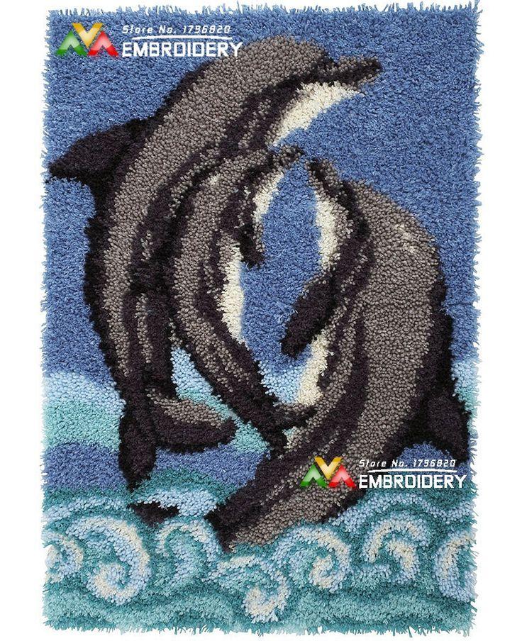 New Latch Hook Rug Kits DIY Needlework Unfinished Crocheting Rug Yarn Cushion Mat Embroidery Carpet Rug Dolphin Love Home Decor