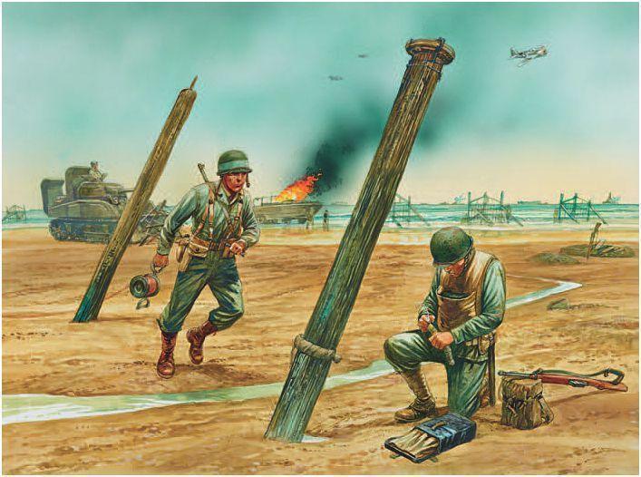 Tropas de asalto de playa del Día-D. Peter Dennis Despejando obstáculos. www.e…