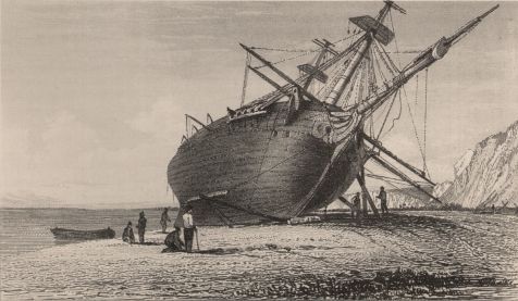 'Beagle laid ashore, River Santa Cruz.' Engraving after Conrad Martens from Narrative 2. from Darwin Online: 'A man who has seen half the world': Introduction to the Banda Oriental Notebook