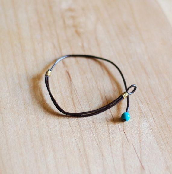 Simple dark brown leather wrap bracelet robins egg by nutmegan