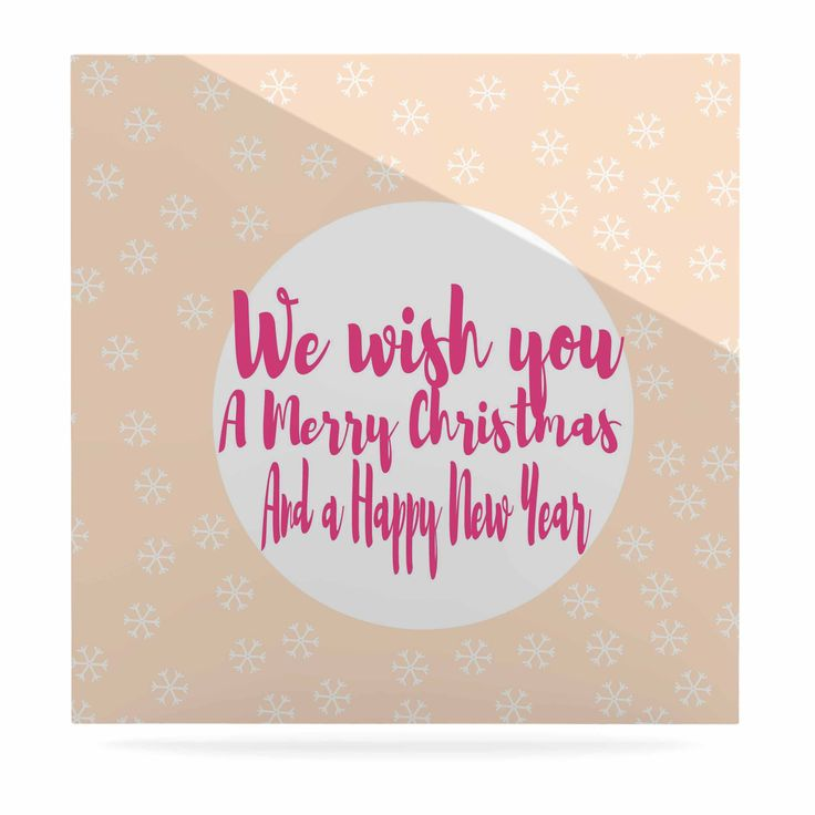 """Suzanne Carter """"Merry Chistmas & Happy New Year"""" Peach Pink Luxe Square Panel"""