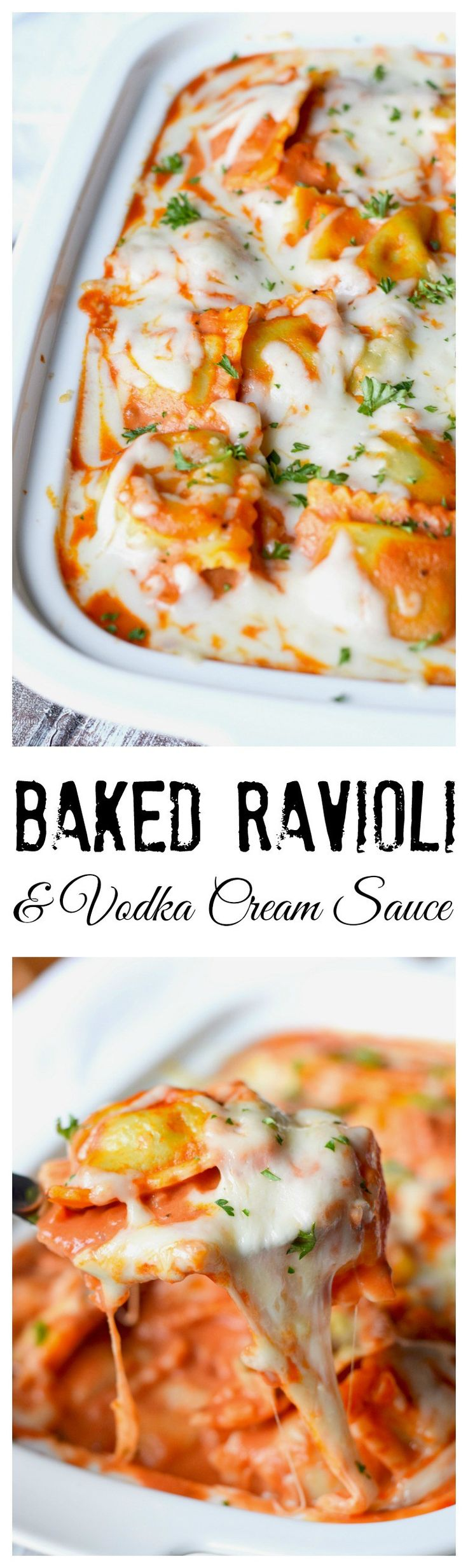 This baked ravioli & vodka cream sauce recipe is creamy and comforting. Everyone will devour it!