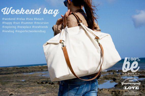 Have a great weekend!!!! Weekend BAG, borsa in tela e cuoio perfetta per gite fuoriporta, beige