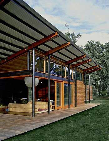 This beautiful outdoor pavilion is simply perfect for lazy afternoons catching a light breeze. Located in Broadford Farm in Sun Valley, Idaho, the structure is positioned in a natural clearing along the Big Wood River.