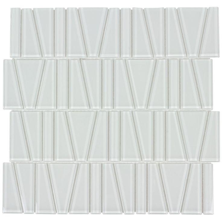 Glass Mosaic Tile Geometric White | Mineral Tiles