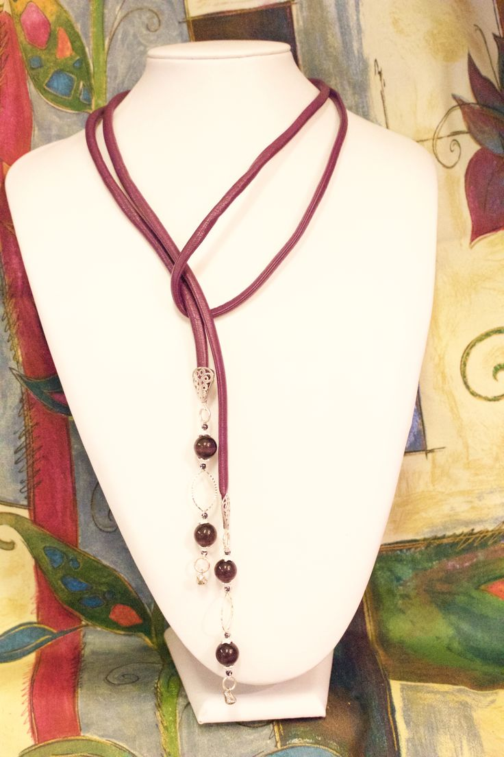 Love purple and love the thick leather and fairly small beads