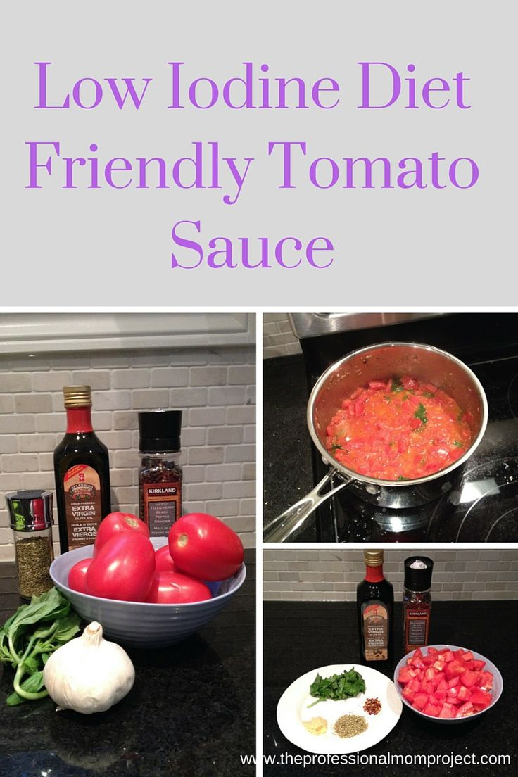 Low iodine diet friendly fresh tomato sauce by The Professional Mom Project