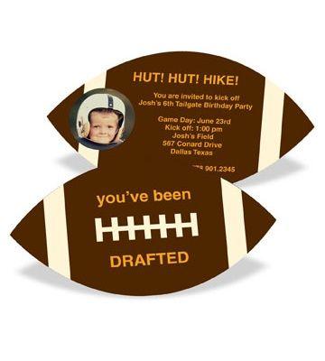 Kids Birthday Invitations -- Football Draft Pick With Photo