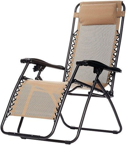 Zero Gravity Lounge Chair Outdoor Pool Beach Patio Furniture Steel Fabric Beige #ZeroGravityLoungeChair