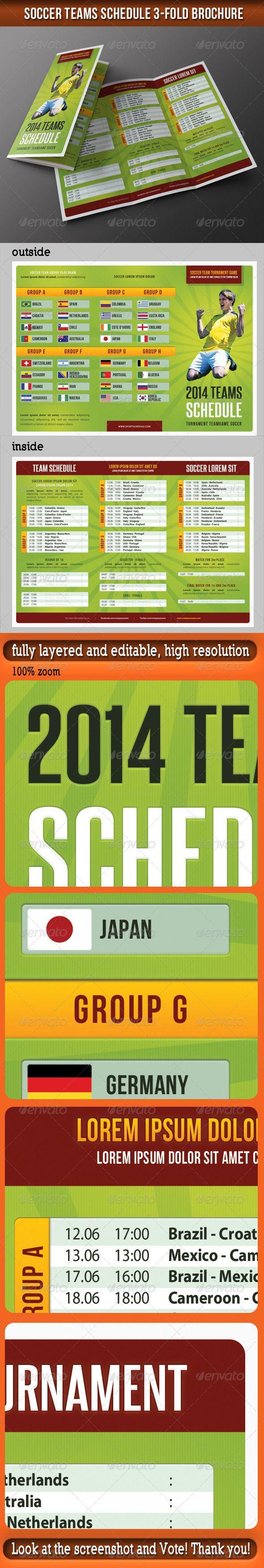 Soccer Match Schedule 2014 3-Fold Brochure - Informational Brochures
