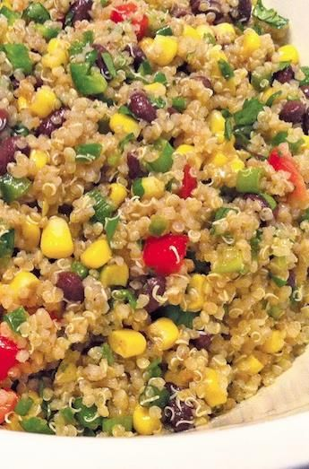 Cilantro adds the perfect tangy zest to this quinoa salad. I added half of a red onion Oh and I had to squeeze 2 limes to get 1/3 cup of lime juice!!! I.love.this dish!!!!!