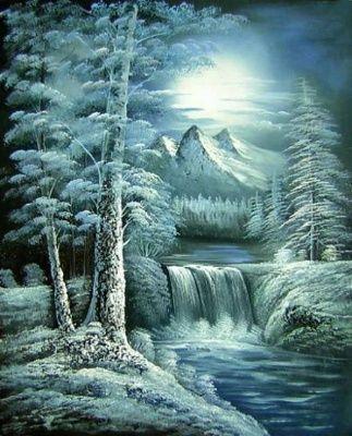 šedá, zima, sníh, Obrazy ručně malované, obrazy, dekorativní obrazy, obrazy do bytu,…