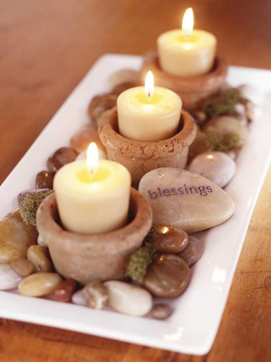 Mini Candle Arrangement with Moss and Rocks: Ideas, Rivers Rocks, Decoration, Candles Centerpieces, Thanksgiving Centerpieces, Zen Gardens, Stones, Tables Decor, Crafts