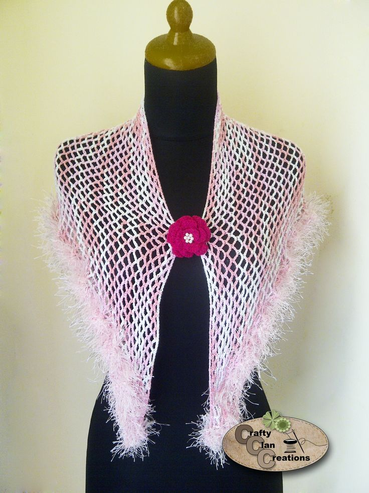 Crochet Fancy Shawl. Thank you sis! for the fancy fur yarn~ :)