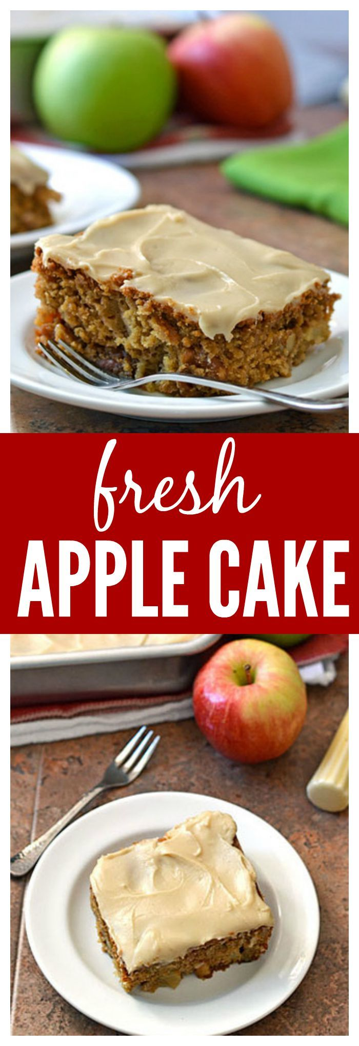 Fresh Apple Cake with Brown Sugar Frosting. A must bake for fall! Extra moist, whole wheat, and packed with warm cinnamon spices.